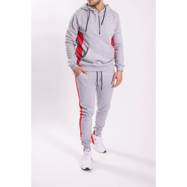 Tracksuit Half Zipped GREY/RED