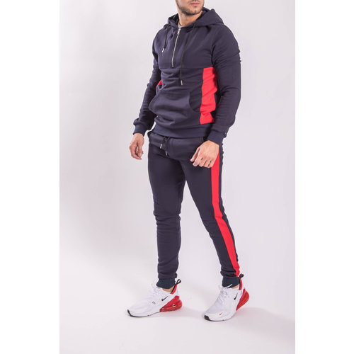 Tracksuit Half Zipped BLUE/RED