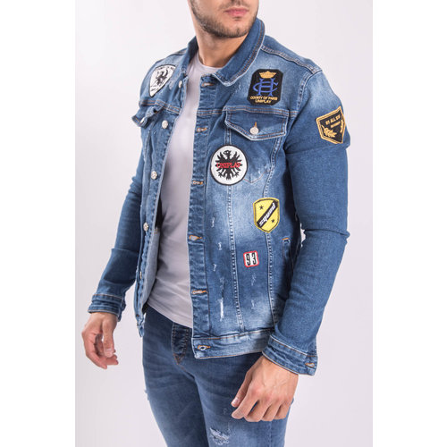 Denim Jacket With Patches Blue