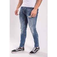 Y UP Skinny fit stretch jeans 008 Yellow splashed Blue