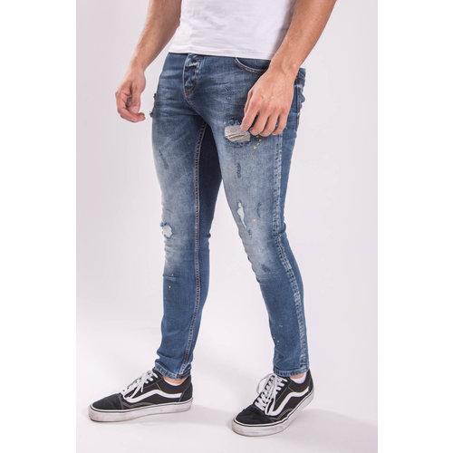 Skinny fit stretch jeans Yellow splashed Blue