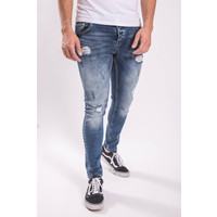 UP Skinny fit stretch jeans 008 Yellow splashed Blue