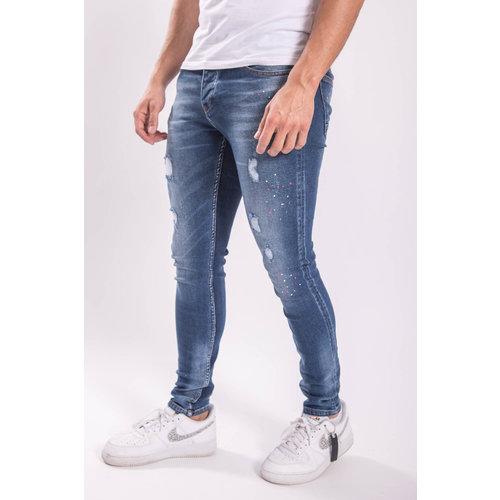 Skinny fit stretch jeans Pink splashed Blue