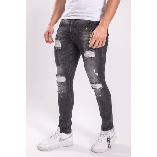 Skinny fit stretch jeans Yellow splashed BLACK