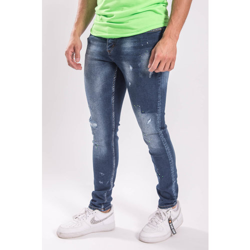 UP Skinny fit stretch jeans Green/yellow splashed BLue
