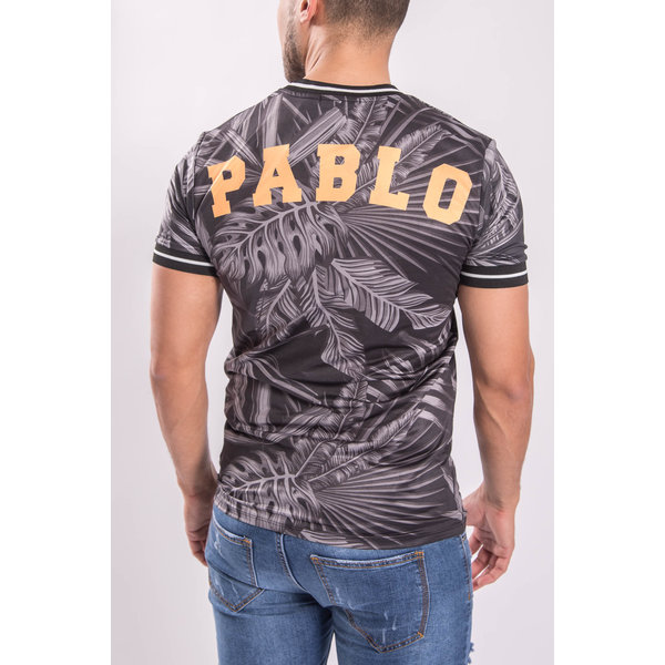 "UP T-shirt Flowered ""pablo"" Major league Grey/Black"