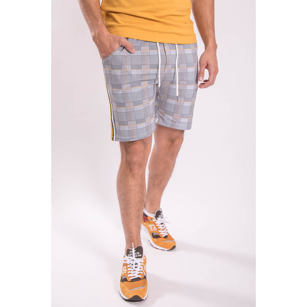 Shorts cotton stretch checkered Yellow striped