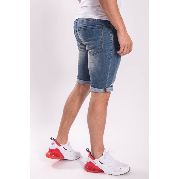JEANS SHORTS BLUE  with red/white splashes