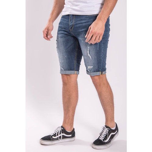 JEANS SHORTS BLUE  with white splashes