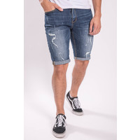 Y JEANS SHORTS BLUE  with white splashes