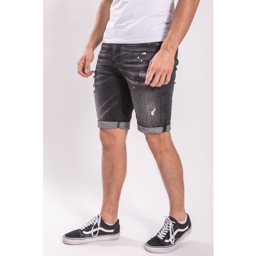 Y JEANS SHORTS BLACK  with white splashes