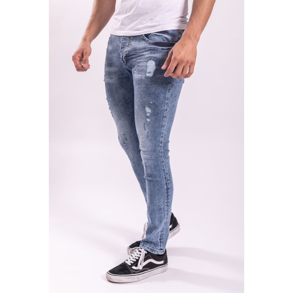 Skinny fit stretch jeans Blue washed / lime green splashes