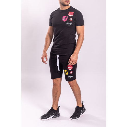 Y UP Twinset T-shirt / Shorts Black with Patches