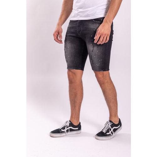 Jeans shorts stretch Black / white splashes