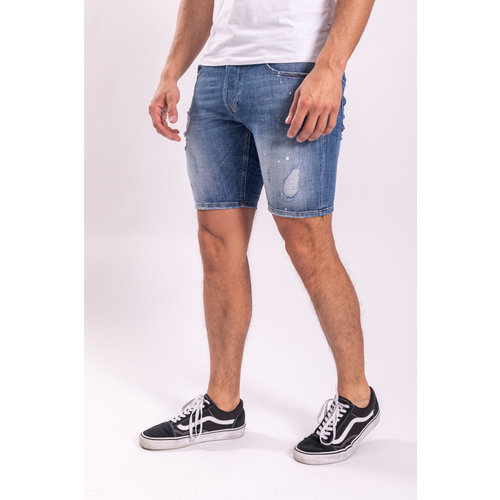 Jeans shorts stretch Blue with light blue / white splashes