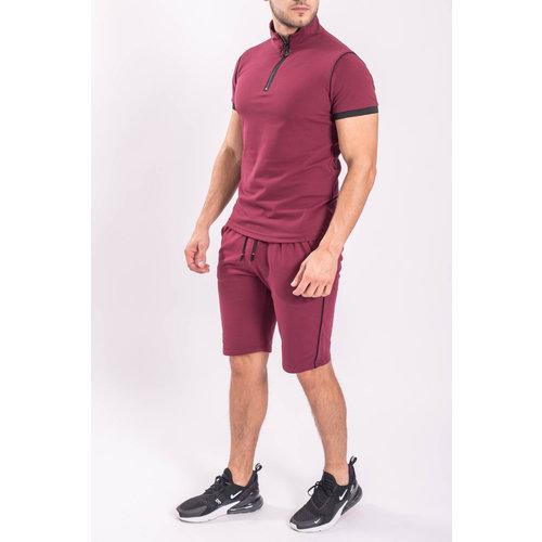 Two Piece set - Shirt + Shorts Bordeaux