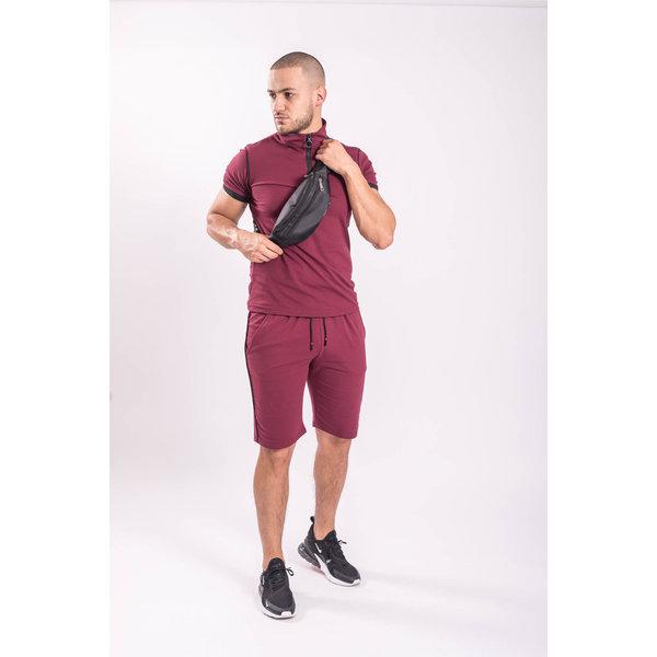 Y Two Piece set - Shirt + Shorts Bordeaux