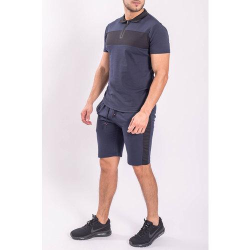 Two Piece set - Shirt + Shorts Dark Blue / Black