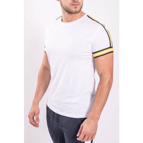 Y T-shirt white yellow striped