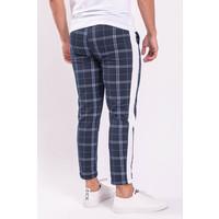 Y Checkered track pants white stripe Dark Blue