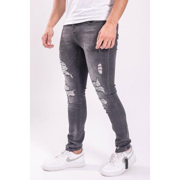Skinny fit stretch jeans Grey / lime splashes /shreds