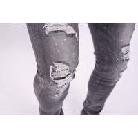 Y Skinny fit stretch jeans Grey / lime splashes /shreds