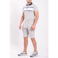 Two Piece set - Polo + Shorts Grey/white/Blue