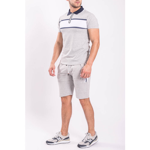 Y Two Piece set - Polo + Shorts Grey/white/Blue