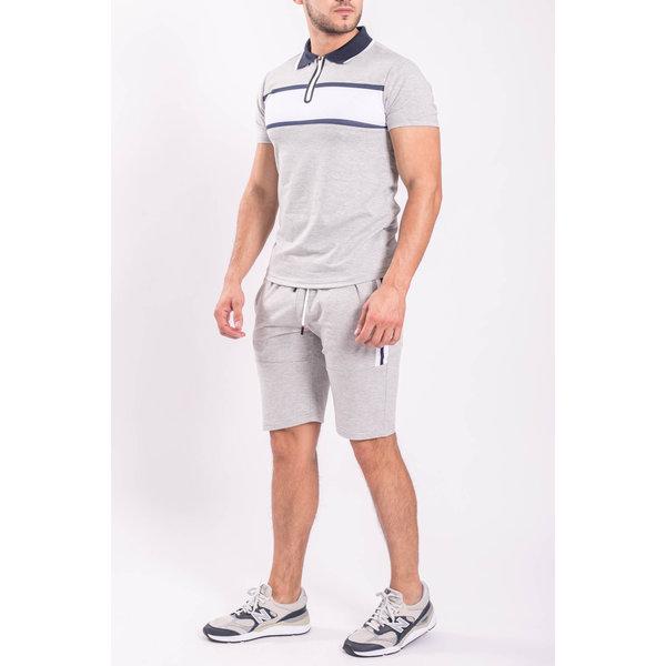 Y Two Piece set - Polo + Shorts Grey/white/Blue