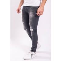 Y Skinny fit stretch jeans Black washed / lime splashes /shreds