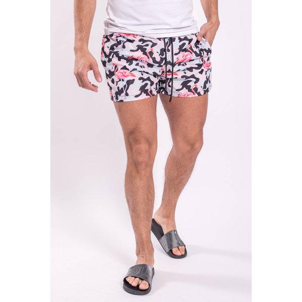 Blauwe Zwembroek.Zwembroek Camo Flamingo Blauw Roze Yugo Menswear Herenmode Winkel