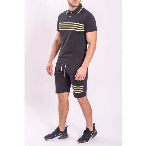 Y Two Piece set - Polo + Shorts Black / Yellow stripes