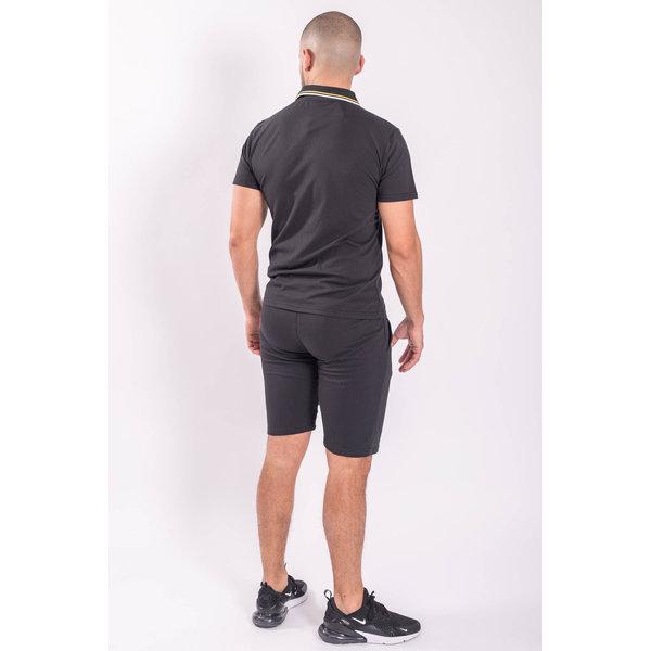Y Two Piece set - Polo + Shorts Black / Yellow stripes