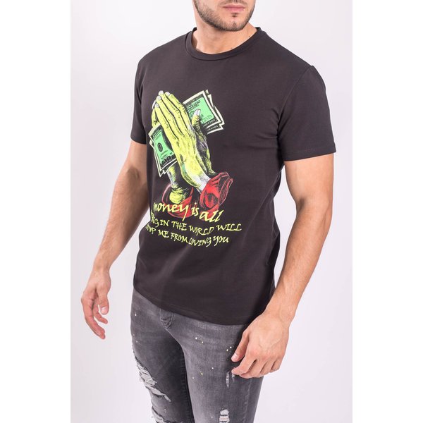 "Y T-shirt ""Money is all"" Black"