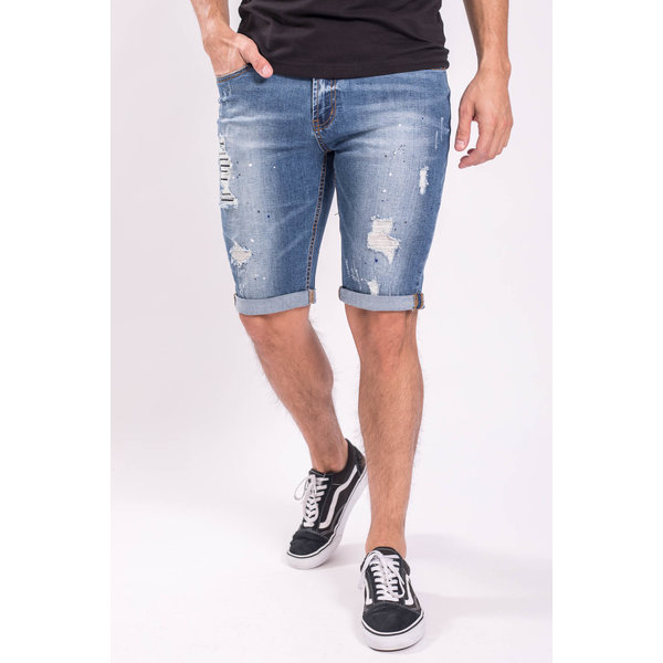 Y Jeans stretch shorts Splashes / shredz Light bLue