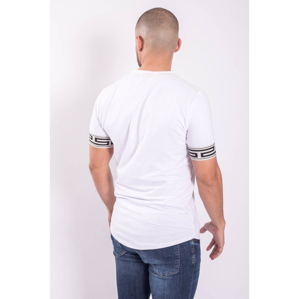 Y T-shirt banded sleeve White