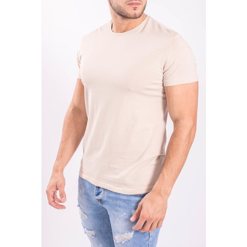Y Basic stretch shirts round neck Beige