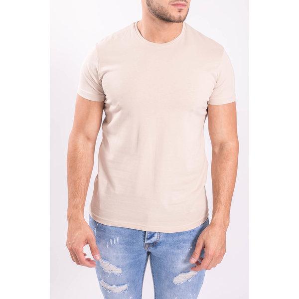 Y Basic stretch shirts round neck Beige