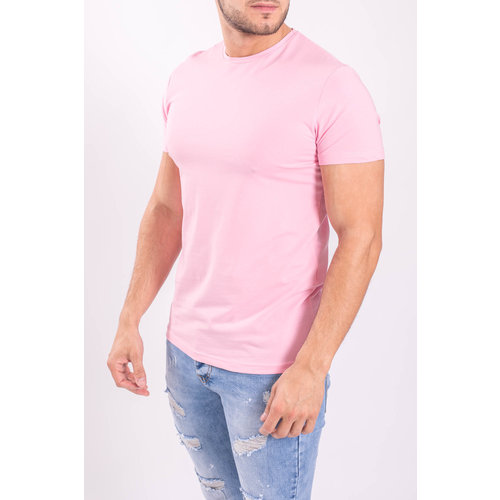 Y Basic stretch shirts round neck Pink