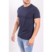 Y Basic stretch shirts round neck Dark Blue