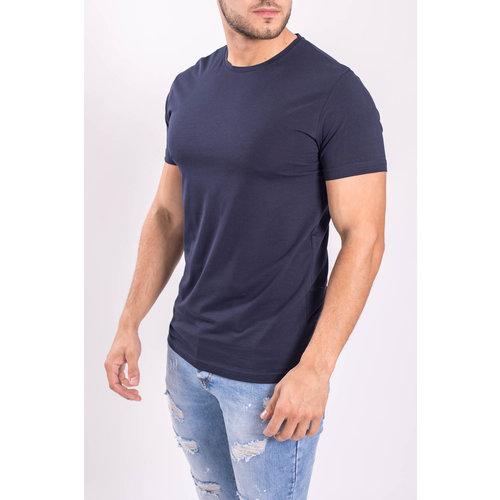 Y Basic stretch shirts round neck Dark Blue
