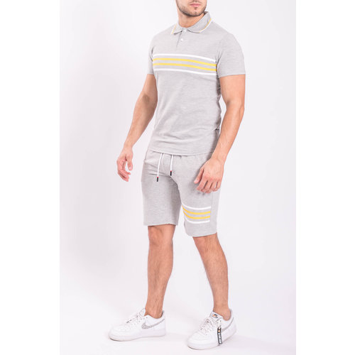Y Two Piece set - Polo + Shorts Grey / Yellow stripes
