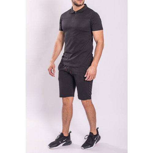 Y Two Piece set - Shirt + Shorts Black on Black