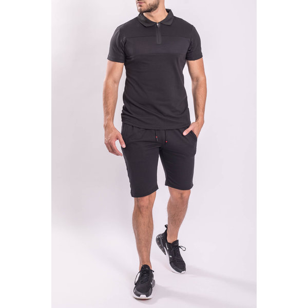 Y Two Piece set - Shirt + Shorts Black on Black