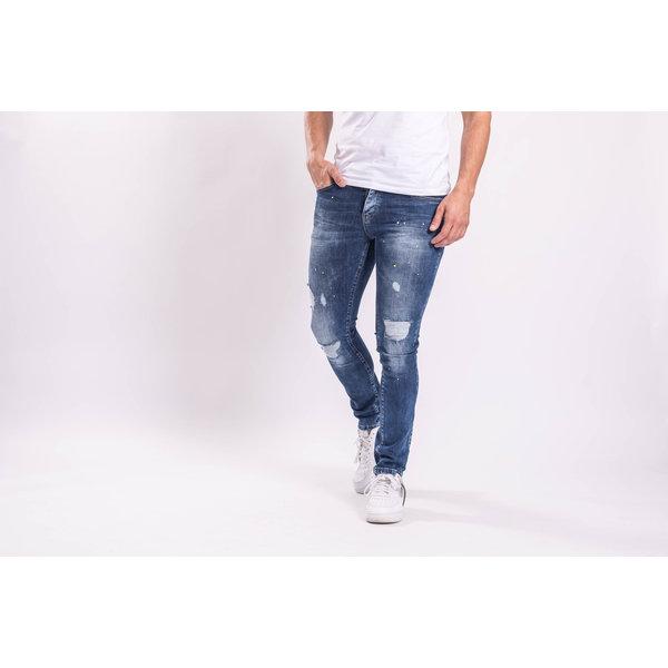 Y Skinny fit stretch jeans Dark Blue shredz / splashes
