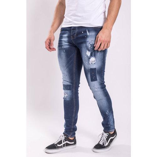 Y Skinny fit stretch jeans Dark Blue washed multi splashed