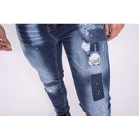 Y Skinny fit stretch jeans Dark Blue washed multi splashed