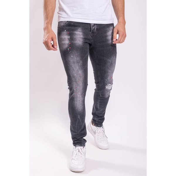 Y UP Skinny fit stretch jeans 052 Black washed red splashes