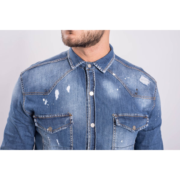 Y Denim stretch blouse Blue washed with splashes