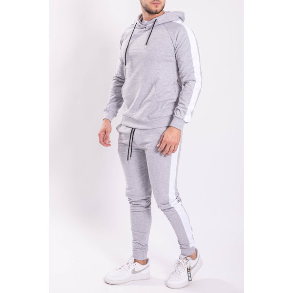 Y AH Tracksuit 3-19-021 Hooded striped Grey/white
